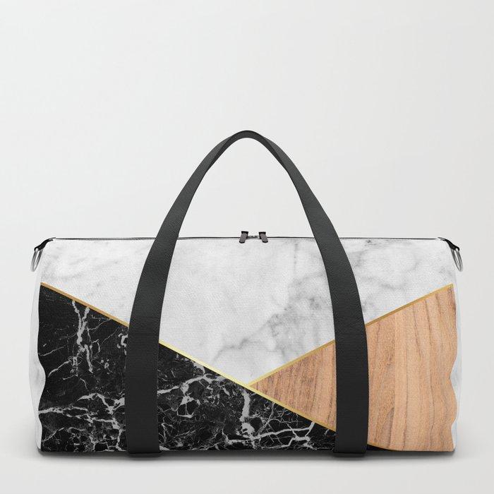 White Marble - Black Granite & Wood #711 Duffle Bag
