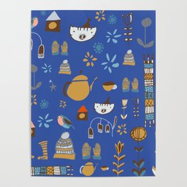 hygge cat and bird blue Poster