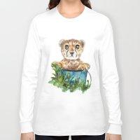 cheetah Long Sleeve T-shirts featuring cheetah by Anna Shell