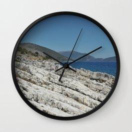 Holiday Rocks by the Sea in Kefalonia Wall Clock
