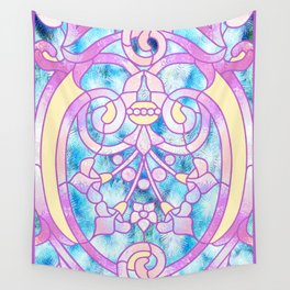 Art Nouveau Blue Pink and Yellow Batik Design Wall Tapestry