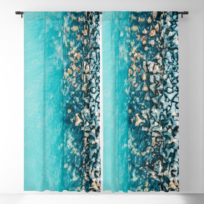 Abstract Turquoise Ocean Aerial Blue Sea Print Large Poster Coastal Wall Art Beach Decor Blackout Curtain By Radub85