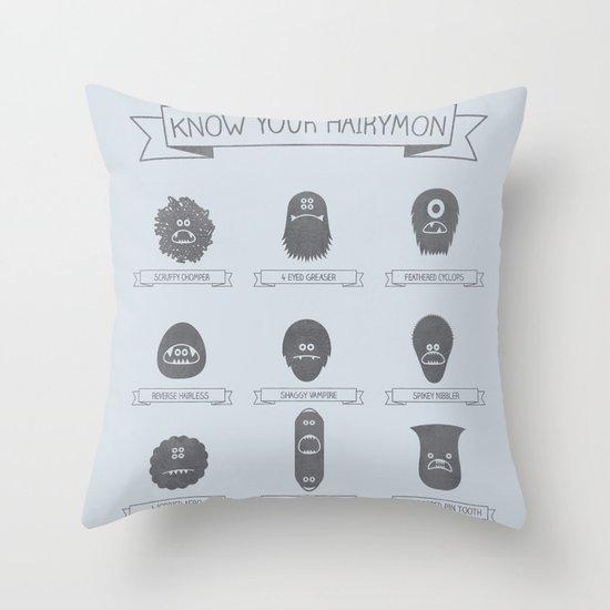 Know Your Hairymon Throw Pillow