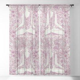 lotus garden vintage plum Sheer Curtain