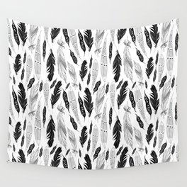 raphic pattern feathers on a white background Wall Tapestry