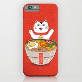 Liter of Ramen. Japanese soup and Manekineko cat. iPhone Case