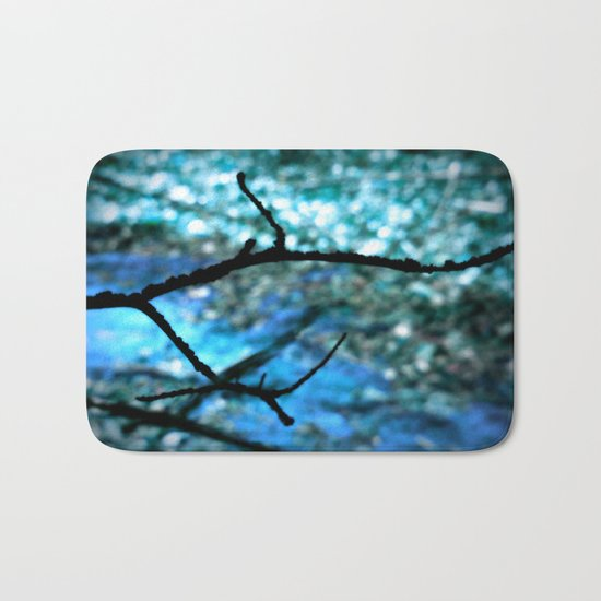 Turquoise Blue Nature Abstract Bath Mat