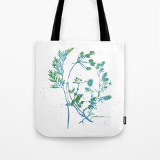 Botanical 1 Blue and Green Tote Bag