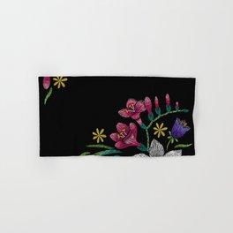 Embroidered Flowers on Black Corner 02 Hand & Bath Towel