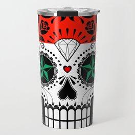 Sugar Skull with Roses and Flag of Syria Travel Mug