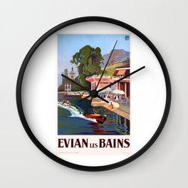 1937 France Evian-Les-Bains Travel Poster Wall Clock