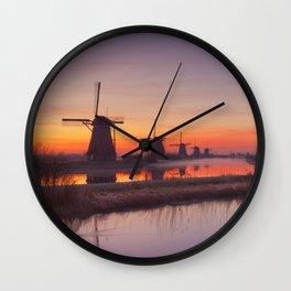 I - Traditional windmills at sunrise, Kinderdijk, The Netherlands Wall Clock