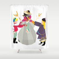 snowman Shower Curtains featuring Snowman by Design4u Studio