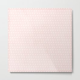 Shabby Soft Pink and White Hearts Metal Print