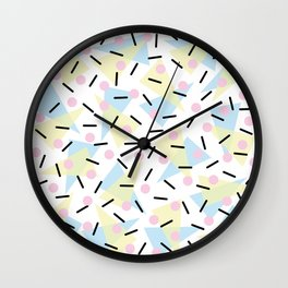 Funky Memphis Confetti Party Pattern Blue Pink Yellow Wall Clock