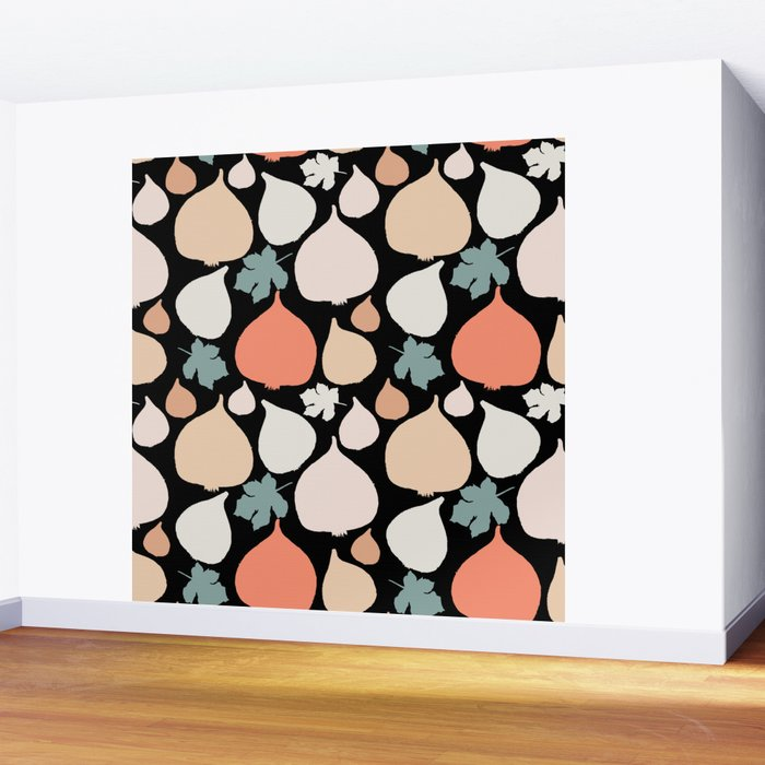 Figs with black background pattern Wall Mural