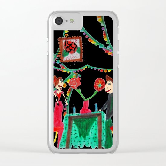 Christmas Dinner   Kids Painting Clear iPhone Case