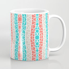 Mosaic Wavy Stripes in Coral, Tan and Turquoise Coffee Mug