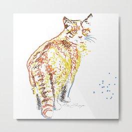 Whimsical Alley Cat Art Metal Print