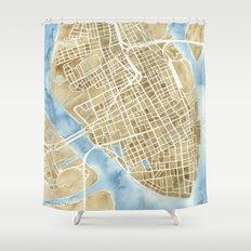Charleston, South Carolina City Map Art Print Shower Curtain