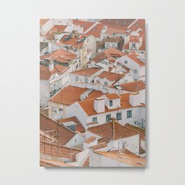 White Houses with Red Roofs of Alfama in Lisbon | Portugal Architecture | Europe City Photography Metal Print