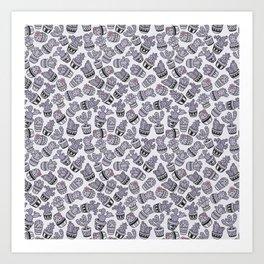 Modern purple black lavender cactus floral pattern Art Print