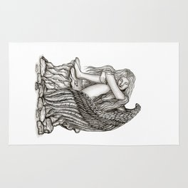 A sleeping Angel , Black and white Design Rug