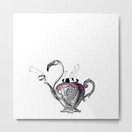 Flamingo Tea Metal Print