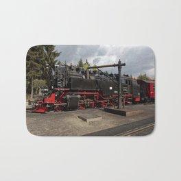 Steam train for water refueling Bath Mat
