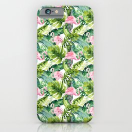Pink green watercolor flamingo tropical monster leaves iPhone Case
