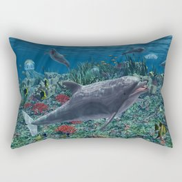 Dolphins play in the reef Rectangular Pillow