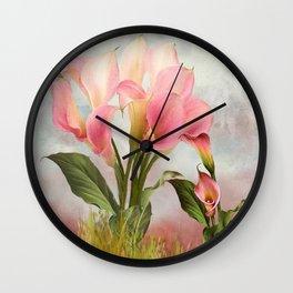 Pink Calla Lily Garden Wall Clock