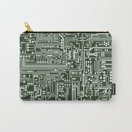 Circuit Board // Green & White Carry-All Pouch