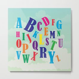 Alphabet art , nursery decor , children gift, birthday gift Metal Print