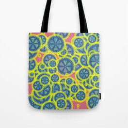 Random blue gearwheels Tote Bag