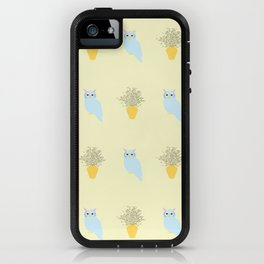 Owl and Olive Plants Pattern, yellow iPhone Case