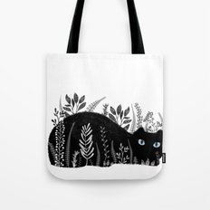Garden Cat Black And White Tote Bag