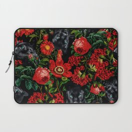 Panther and Floral Pattern XO Laptop Sleeve