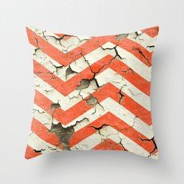Peeling Chevrons Orange Throw Pillow