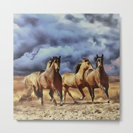 Wild horses running on a beach digital painting, Brown horses Stormy sunset clouds, Metal Print