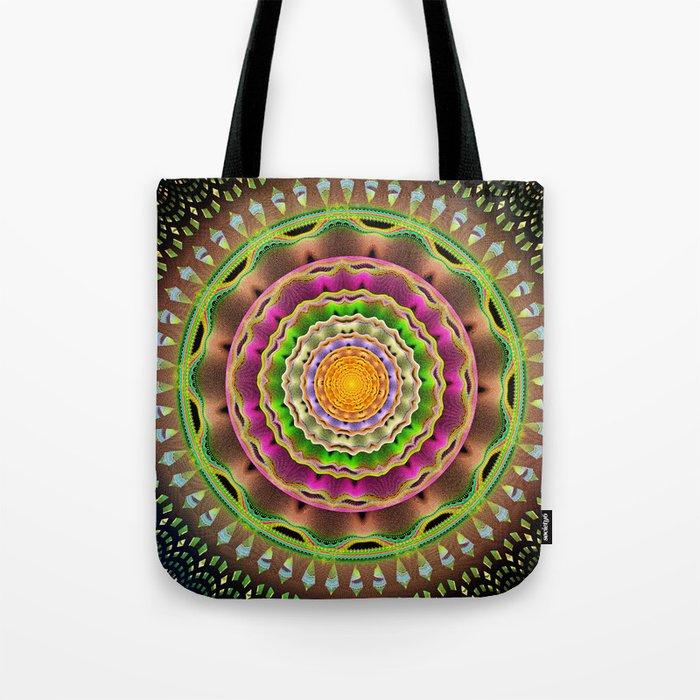 Waves and patterns mandala Tote Bag