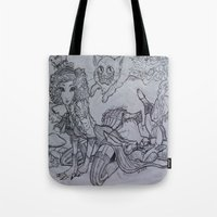 mad Tote Bags featuring Mad by Victoria Brown