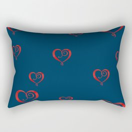 Polka Heart Party, Blue Rectangular Pillow