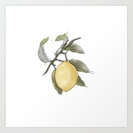 Original Lemon Watercolor Painting #Fruit Art Print