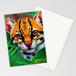 Ocelot in jungle and frog friend Stationery Cards