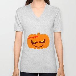 Evil Halloween Pumpkin Unisex V-Neck