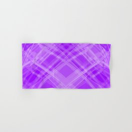 Swirling violet ribbons with a pattern of symmetrical checkerboard rhombuses. Hand & Bath Towel