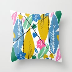 Feathers and leafs Throw Pillow