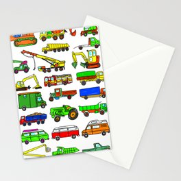 Doodle Trucks Vans and Vehicles Stationery Cards