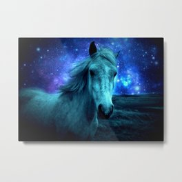 Teal Horse Blue Violet Galaxy Skies Metal Print